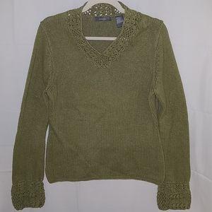 Liz Claiborne Knit-Detail Olive Sweater Sz L